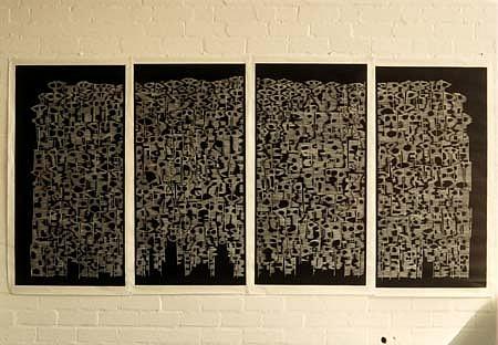 Xu Zhongmin, City Masks 1992, woodcut