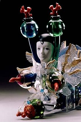 Tatyana Zhurkov, Flying Dutchman (Detail) 1999, mixed media, porcelain, plastic birds and fish, venetian glass