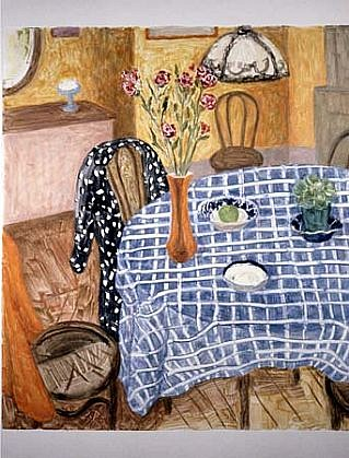 Janet Yake, Table and Carnations 1993, monotype