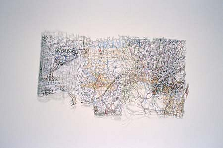 Robert Walden, Jr., Untitled: Folded Landscape 2002, excised road map on wall