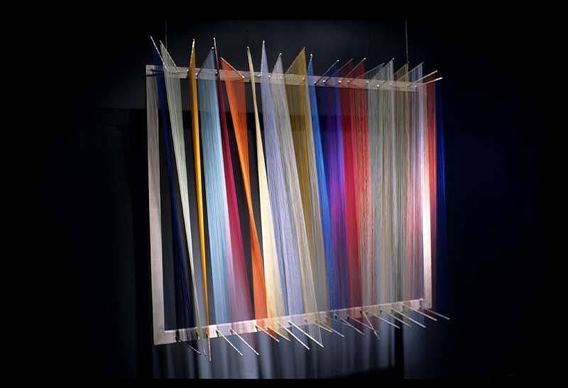 Randall Walker, Color Separation (northern lights) 2005, aluminum silkscreen frame, steel bolts, nylon fiber