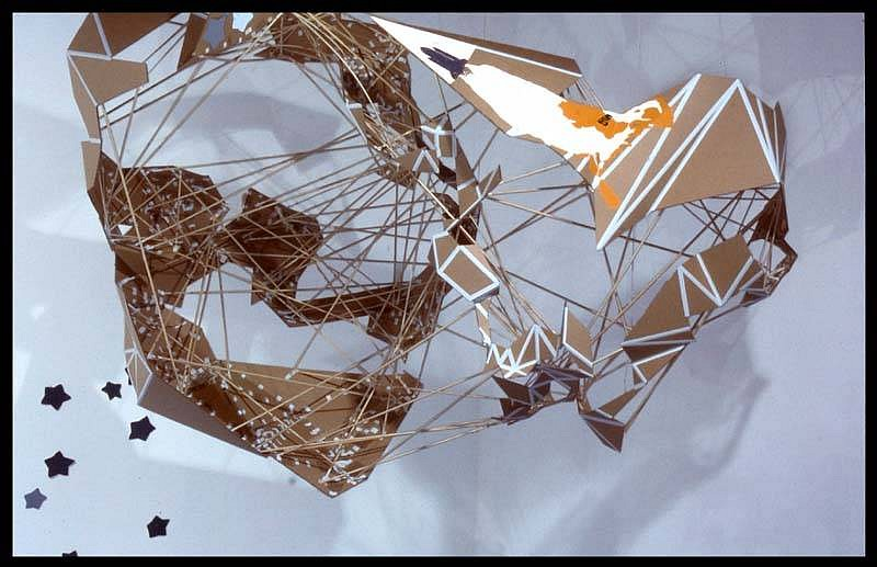 Will Walker, 3 Orbits (Phobos) cardboard, elmer's glue, paper, wood