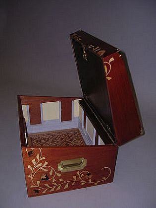 Micki Watanabe, Study- JWG Writing Desk 2004, wood, leather, brass hardware, miscellaneous exotic wood veneers