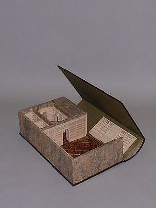 Micki Watanabe, Evergreen Rare Book 2004, wood, leather, marble paper, miscellaneous wood veneers in the parquet flooring