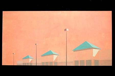 Frank Webster, The Guard-Towers(Long Island Shopping Center) 2001, acrylic on canvas