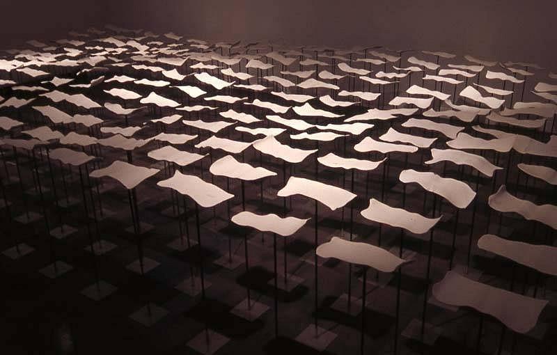 Lena Welker, Sea Change 2007, porcelain, steel, cobalt oxide, ink