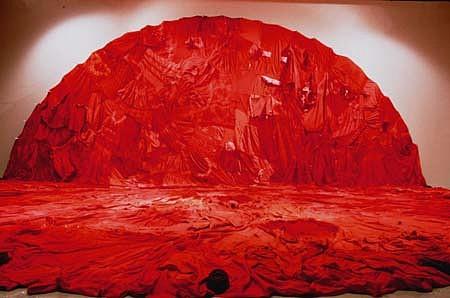 Yasufumi Takahashi, Red Reflection 1 1995, secondhand undershirts, red dye, antique irons, aluminum hooks