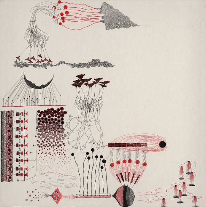 Jen Urso   Disaster Study 2 , 2008   ink on paper, 36 x 36 inches