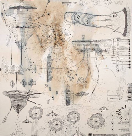 Jen Urso, Iceflow 1 2007, ink, ice and tea on paper