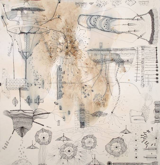 Jen Urso   Iceflow 1 , 2007   ink, ice and tea on paper, 31 x 31 inches