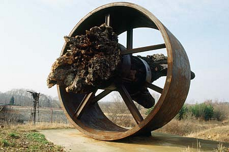 Ales Vesely, Trunk of Tree Through the Big Wheel 1993, iron, wood