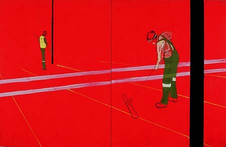 Mark Sadler, Red Sweepers 2000, oil on cotton