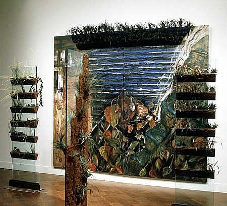 Soledad Salame, Garden of the Sacred Light 1995, mixed media on wood and glass, earth, living plants