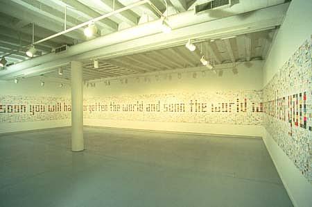 John Salvest, Meditation 7.21 1997, paper, painted sheathing, thumbtacks