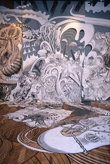 Paul Santoleri, Omega Warm Garden Sunrise 2008, ink, acrylic on canvas, wall and floor, with glass, cast conrete, tape, etc.