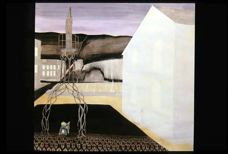 Carrie Scanga, Pillory 2007, charcoal, colored pencil, watercolor, collaged etching on paper