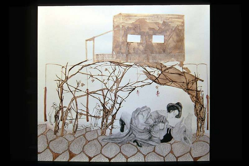 Carrie Scanga, Stick Cave 2006, charcoal, colored pencil, watercolor, collaged etching on paper