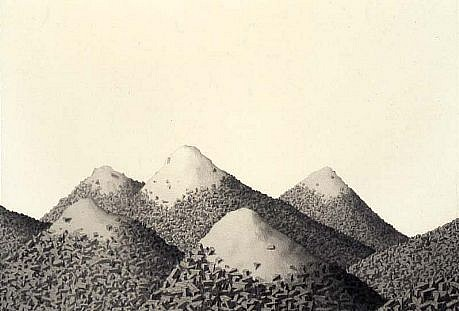 Michael Schall, Cargo Landfill 2006, graphite on paper