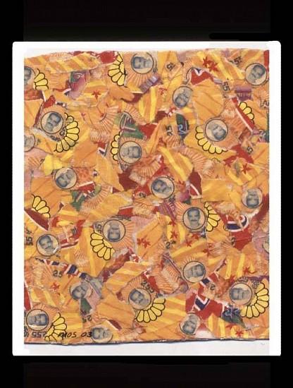Margi Scharff, Tobacco Men on Yellow 2003, mixed media collage