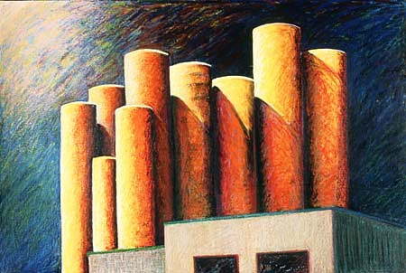Charlotte Schatz, Silos 2003, oil stick, acrylic on canvas