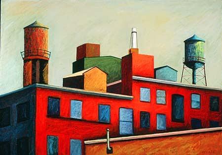 Charlotte Schatz, Blue Windows 2002, oil stick, acrylic on canvas