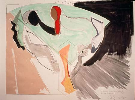 John Scofield, 3 Sided Glass Top Table with 4 Legs 1990, charcoal, pastel, ink, acrylic paint, pencil, watercolor on paper