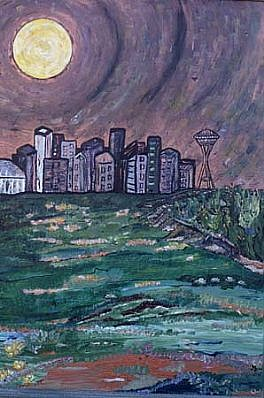 Marigold Scott, Seattle Skyline 1998, acrylic