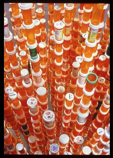 Jean Shin, Chemical Balance 2005, prescription pill bottles, mirrors, and epoxy