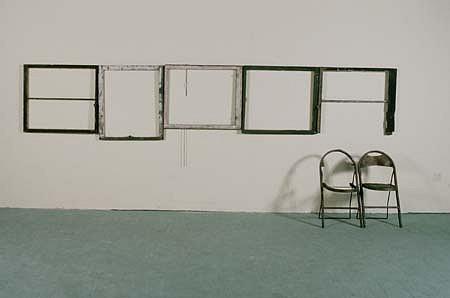 Sook-Jin Jo, The Windows of Heaven Are Open 1995, chairs, window frames