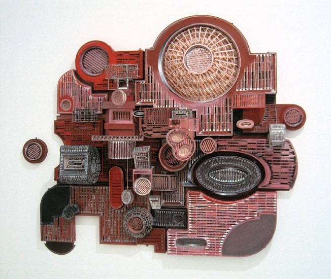 Jane South, Untitled (Red Square) 2006, hand-cut and folded paper, ink, acrylic, balsa