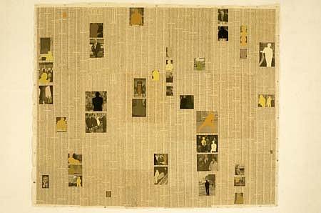 Beth Reisman, Wall Street 1998, pigment, wax, newspaper on canvas