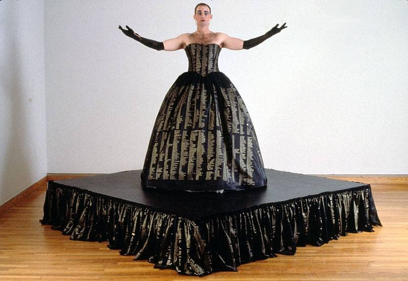 Hunter Reynolds, Patina du Prey's Memorial Dress 1993 - 1997, dress printed with 25,000 names of people who have died of AIDS