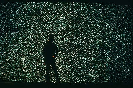 Jill Reynolds, The Shape of Breath: Alphabet 1997, wall of glass bubbles, backlit