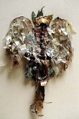Leah Rhodes, Plumed Spirit 1981, mixed media, birch bark, egg case
