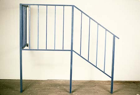 Stephen Riedell, Blue Railing 1998, oil, beeswax, canvas, wood