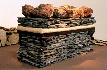 Celeste Roberge, Stack 1997, 10 boulders, daybed, 8000 pounds of shale