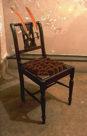 Janet Orselli, Release 2002, chestnut burs, feathers, hardware, chair