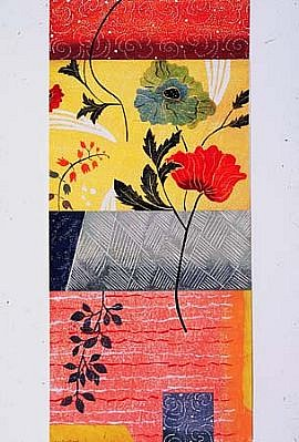 Pia Oste Alexander, Poppies 2003, hand painted wood-block, collaged