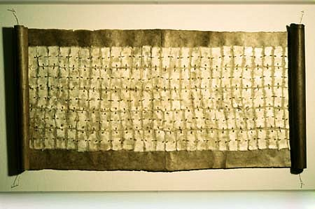 Sky Pape, Codex 1996, lakta and embossed paper, brass wire, brass pins