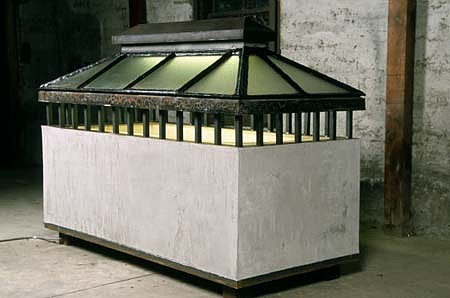 Marsha Pels, Cleansing II: Tub 2001, structolite, soap, steel, glass, tar, flourescent light