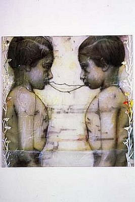 Sibylle Peretti, Sisters, Silent Children Series 2002, mixed media on plexi
