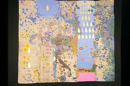 Diane Pieri, Symbolic Landscape I 1997 - 1998, papyrus, flame, acrylic, gouache, gold leaf