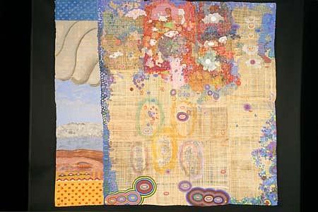 Diane Pieri, Symbolic Landscape II 1998, papyrus, acrylic, gouache, gold leaf