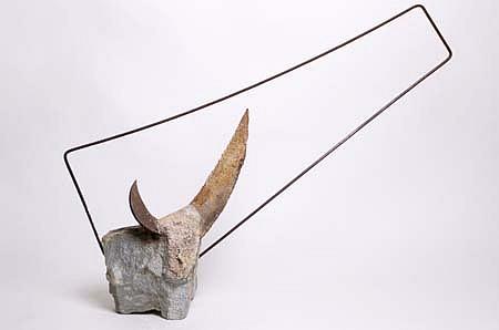 Pedro Pinkalsky, Paisagem Com Toro (Landscape with Bull) 2001, stone, cast iron