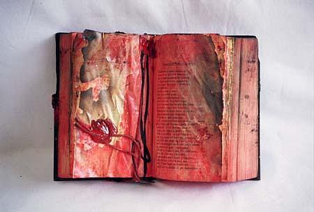 Alfredo Pizzo Greco, Burned Book 2001, acrylics, sealing wax, rope
