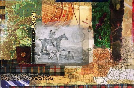 Pamela Moore, London Highwater II 2003, mixed media canvas with chine colle photo intaglio