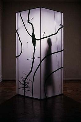 Susanne Muel, Girl 1989, installation with electric light and audio