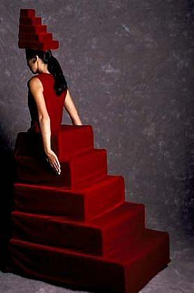 Yuki Nakamura, Red Stair 2003, velvet, wood, foam, roller