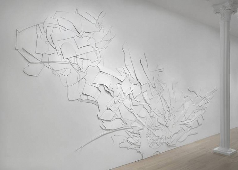 Chris Nau, XIX 2009, graphite and cuts on drywall