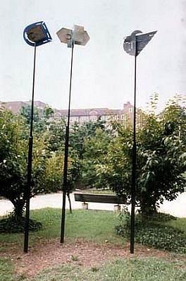 Florence Neal, The Zetegians 1989, welded, cut & painted steel wind sculptures